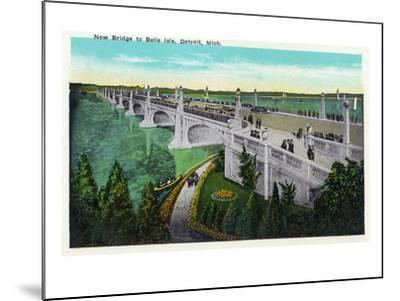 Detroit, Michigan - New Belle Isle Bridge-Lantern Press-Mounted Art Print