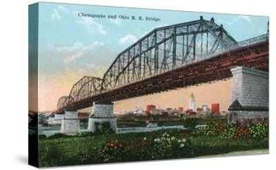Cincinnati, Ohio - Chesapeake and Ohio Railroad Bridge Scene-Lantern Press-Stretched Canvas Print
