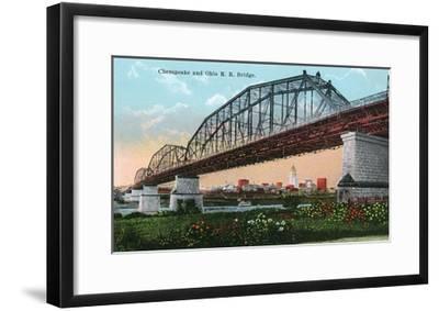 Cincinnati, Ohio - Chesapeake and Ohio Railroad Bridge Scene-Lantern Press-Framed Art Print