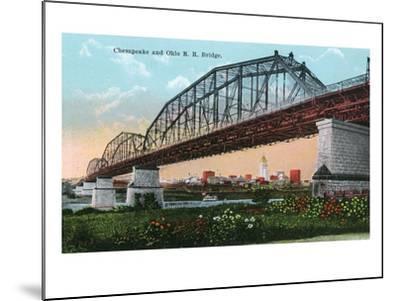 Cincinnati, Ohio - Chesapeake and Ohio Railroad Bridge Scene-Lantern Press-Mounted Art Print