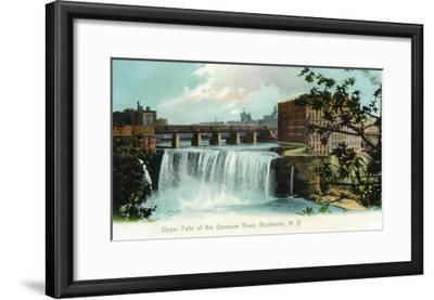 Rochester, New York - Upper Falls of the Genesee River-Lantern Press-Framed Art Print