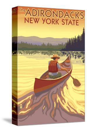 The Adirondacks, New York State - Canoe Scene-Lantern Press-Stretched Canvas Print