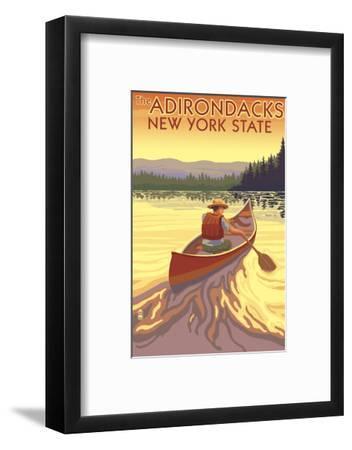 The Adirondacks, New York State - Canoe Scene-Lantern Press-Framed Art Print