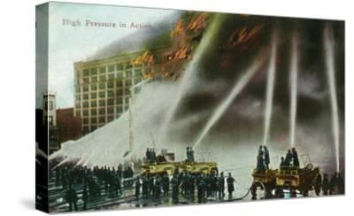 View of Firefighters Spraying an Enormous Blaze-Lantern Press-Stretched Canvas Print