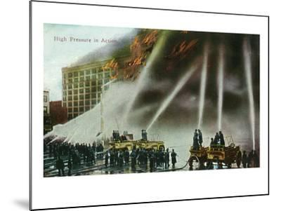 View of Firefighters Spraying an Enormous Blaze-Lantern Press-Mounted Art Print