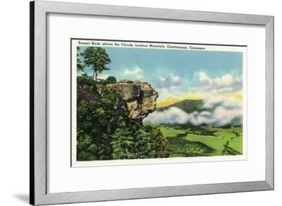 Lookout Mountain, Tennessee - Scenic View from Sunset Rock on the Mountain-Lantern Press-Framed Art Print