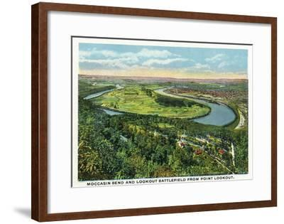 Lookout Mountain, Tennessee - Moccasin Bend, Lookout Battlefield View from Mt-Lantern Press-Framed Art Print