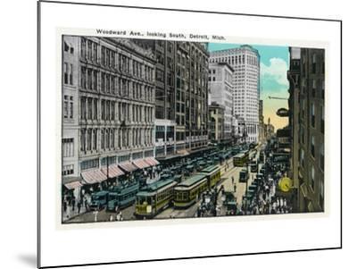 Detroit, Michigan - Woodward Avenue South Scene-Lantern Press-Mounted Art Print