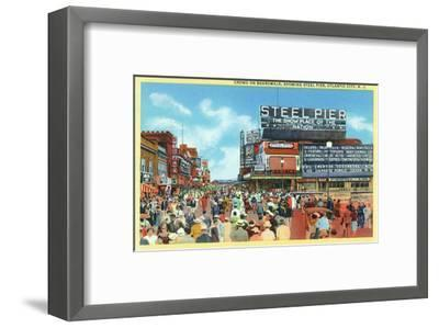 Atlantic City, New Jersey - Steel Pier View from Boardwalk-Lantern Press-Framed Art Print