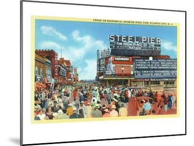 Atlantic City, New Jersey - Steel Pier View from Boardwalk-Lantern Press-Mounted Art Print