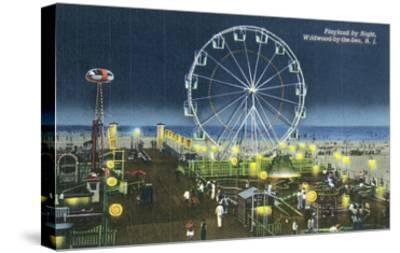 Wildwood, New Jersey - Wildwood-By-The-Sea Playland at Night View-Lantern Press-Stretched Canvas Print