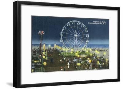 Wildwood, New Jersey - Wildwood-By-The-Sea Playland at Night View-Lantern Press-Framed Art Print