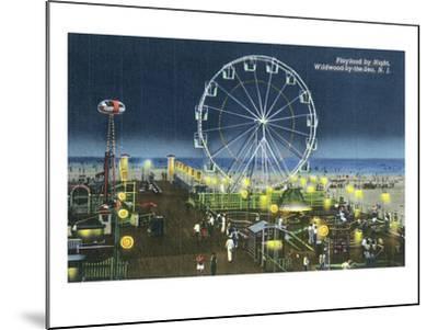 Wildwood, New Jersey - Wildwood-By-The-Sea Playland at Night View-Lantern Press-Mounted Art Print