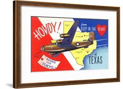 Texas - B-24 Howdy, Bound for Tokyo WWII Promo-Lantern Press-Framed Art Print