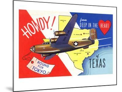 Texas - B-24 Howdy, Bound for Tokyo WWII Promo-Lantern Press-Mounted Art Print