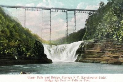 Portage, New York - Letchworth Park, View of Upper Falls and the Bridge-Lantern Press-Stretched Canvas Print