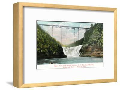 Portage, New York - Letchworth Park, View of Upper Falls and the Bridge-Lantern Press-Framed Art Print