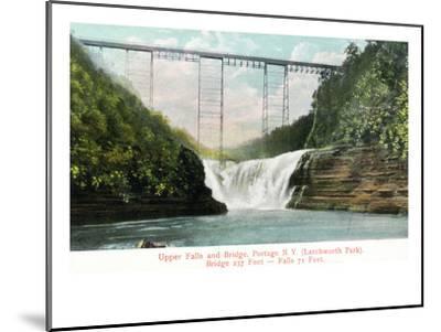 Portage, New York - Letchworth Park, View of Upper Falls and the Bridge-Lantern Press-Mounted Art Print
