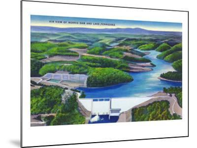 Norris, Tennessee - Aerial View of Norris Dam and Norris Lake-Lantern Press-Mounted Art Print