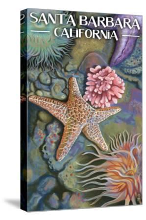 Santa Barbara, California - Tidepools-Lantern Press-Stretched Canvas Print