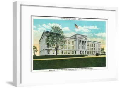 Springfield, Missouri - Southwest State Teacher's College Admin Bldg-Lantern Press-Framed Art Print