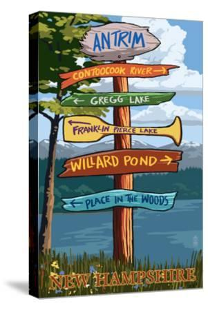 Antrim, New Hampshire - Destination Sign-Lantern Press-Stretched Canvas Print