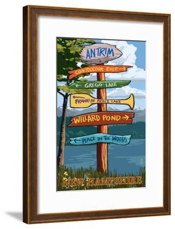 Antrim, New Hampshire - Destination Sign-Lantern Press-Framed Art Print