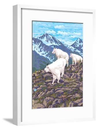 Mountain Goat Family-Lantern Press-Framed Art Print