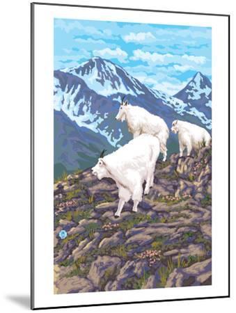 Mountain Goat Family-Lantern Press-Mounted Art Print