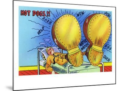 Hot Dogs, Soldier with Sore, Enlarged Feet-Lantern Press-Mounted Art Print