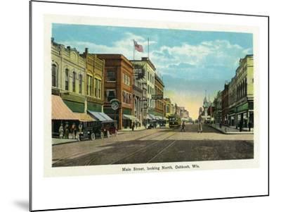 Oshkosh, Wisconsin - Main Street North Scene-Lantern Press-Mounted Art Print