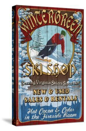 Wintergreen, Virginia - Ski Shop-Lantern Press-Stretched Canvas Print
