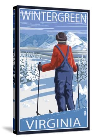 Wintergreen, Virginia - Skier Admiring View-Lantern Press-Stretched Canvas Print