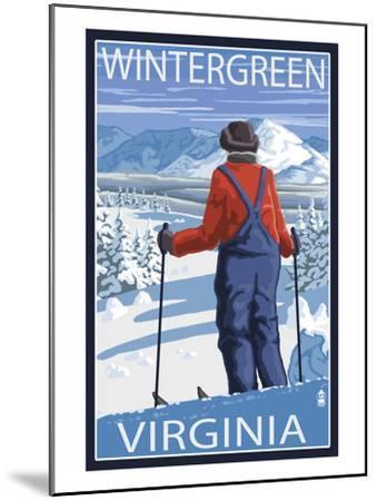 Wintergreen, Virginia - Skier Admiring View-Lantern Press-Mounted Art Print
