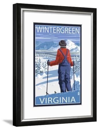 Wintergreen, Virginia - Skier Admiring View-Lantern Press-Framed Art Print