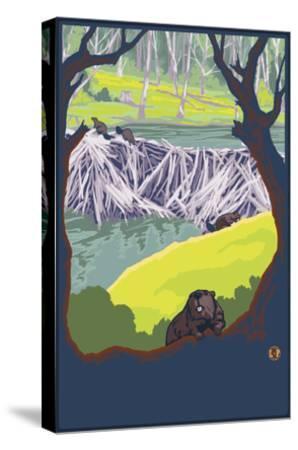 Beaver Family-Lantern Press-Stretched Canvas Print