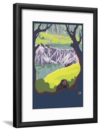 Beaver Family-Lantern Press-Framed Art Print