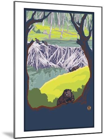 Beaver Family-Lantern Press-Mounted Art Print