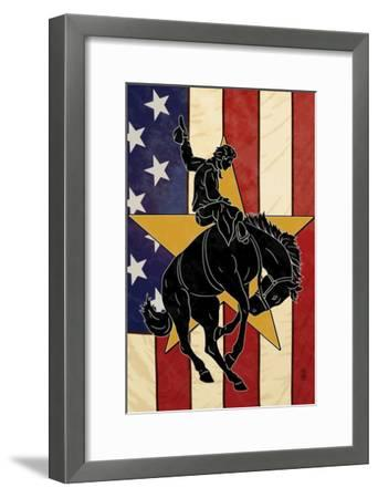Bronco Bucking and Flag-Lantern Press-Framed Art Print