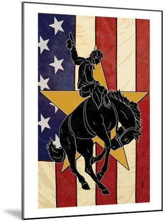 Bronco Bucking and Flag-Lantern Press-Mounted Art Print