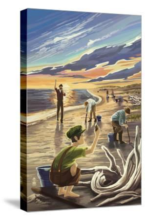 Clam Diggers - Driftwood-Lantern Press-Stretched Canvas Print