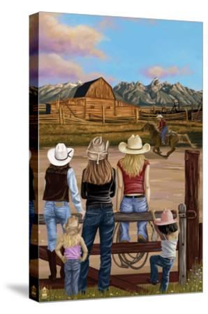 Cowgirls Scene-Lantern Press-Stretched Canvas Print