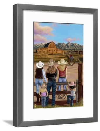 Cowgirls Scene-Lantern Press-Framed Art Print