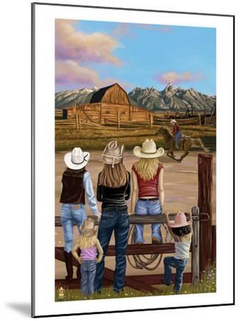 Cowgirls Scene-Lantern Press-Mounted Art Print