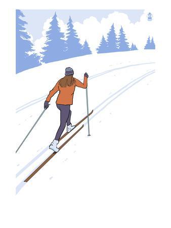 Cross Country Skier Stylized-Lantern Press-Framed Art Print