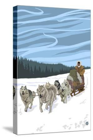 Dogsledding Scene-Lantern Press-Stretched Canvas Print