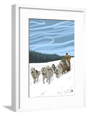 Dogsledding Scene-Lantern Press-Framed Art Print