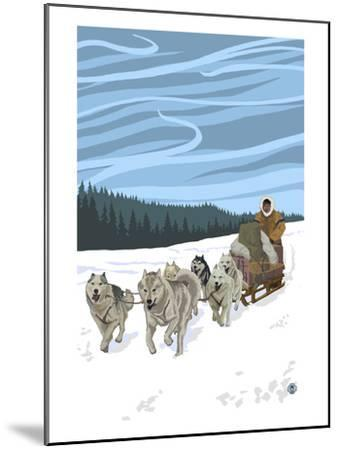 Dogsledding Scene-Lantern Press-Mounted Art Print