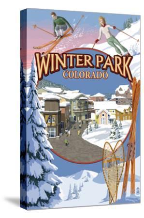 Winter Park, Colorado Montage-Lantern Press-Stretched Canvas Print
