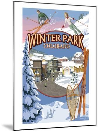Winter Park, Colorado Montage-Lantern Press-Mounted Art Print